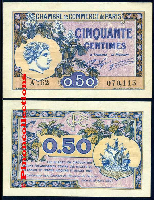 Paris 75 billet 0 50 centimes 10 mars 1920 neuf - Chambre de commerce de paris adresse ...