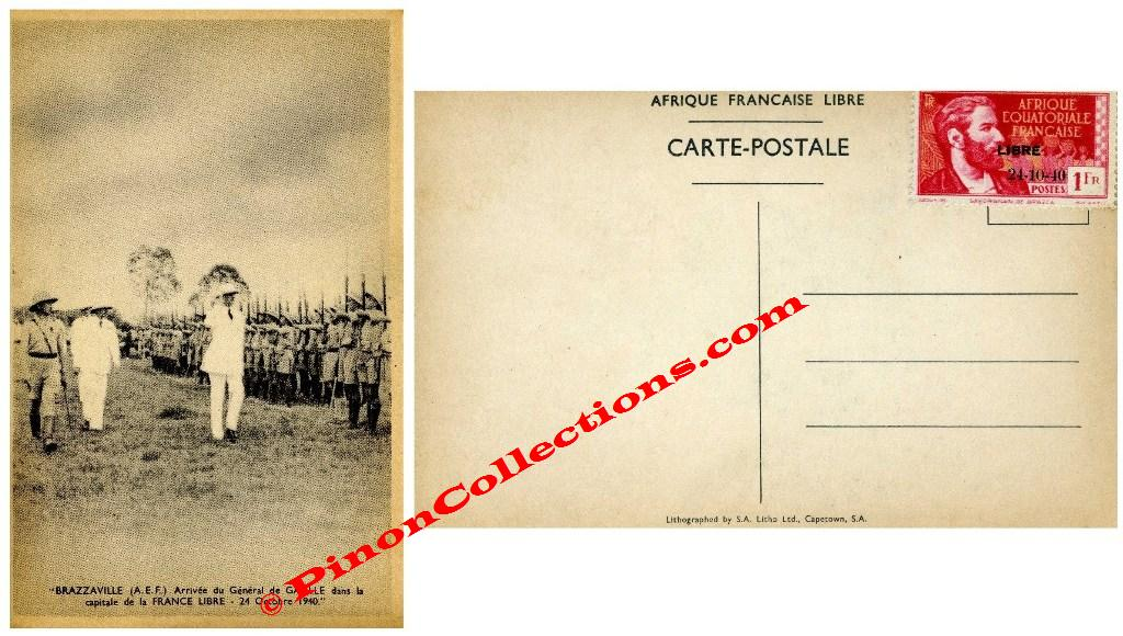 carte postale de l 39 arriv e du g n ral de gaulle. Black Bedroom Furniture Sets. Home Design Ideas
