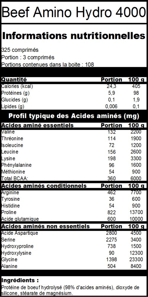 BEEF AMINO - Informations Nutritionnelles