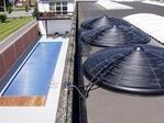 Solar disc haetyng pool system