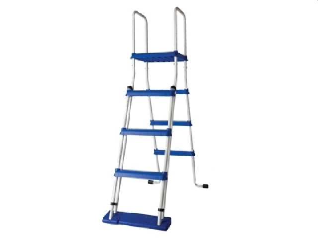 Escalera de seguridad con plataforma