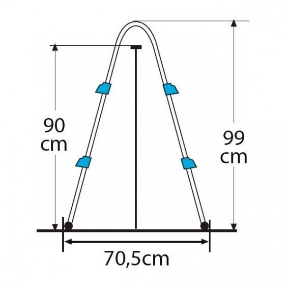 Escalera tipo tijera de 2 x 2 peldaños