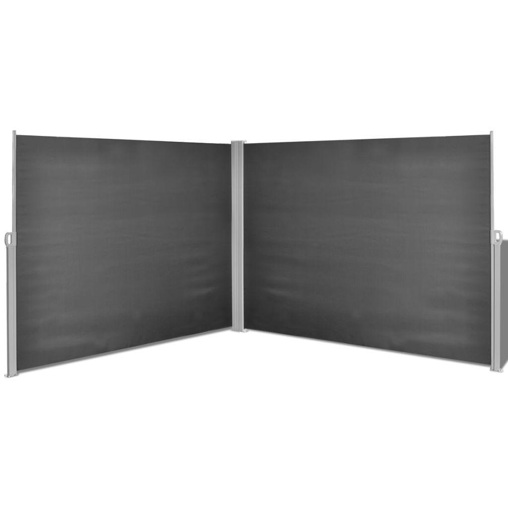 Toldo lateral negro para terraza 160 x 600 cm