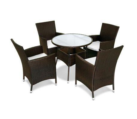 Conjunto de muebles de jardín 9 piezas poli ratan marrón