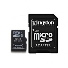 Tarjeta de Memoria Kingston microSD HC 32GB + Adaptador SD