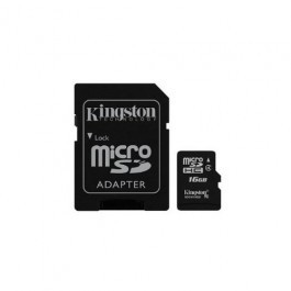 Tarjeta de Memoria Kingston microSD HC 16GB + Adaptador SD