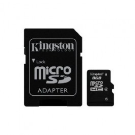 Tarjeta de Memoria Kingston microSD HC 8GB + Adaptador SD