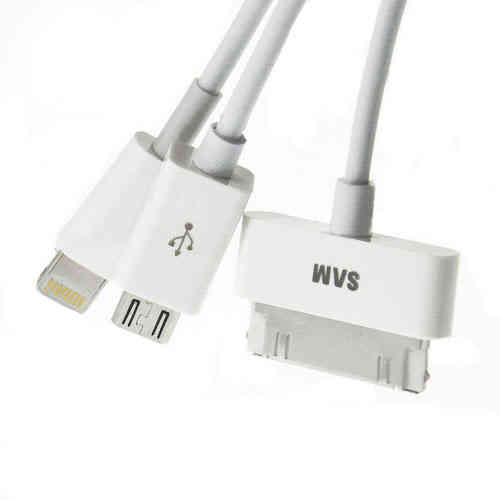 Cable de datos 4 en 1 microUSB y Apple