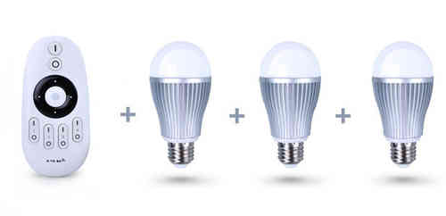 Pack-3 white LED bulbs + remote control