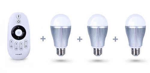 Pack-3 Bombillas LED blancas + mando