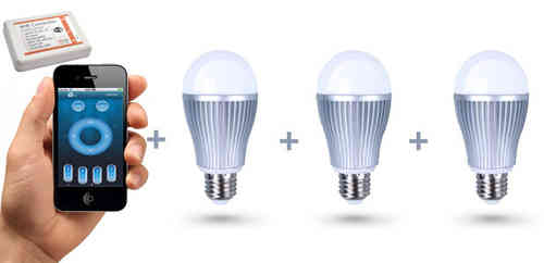 Pack-3 Bombillas LED blancas + controlador wifi