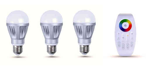 Pack-3 colour LED bulbs + remote control