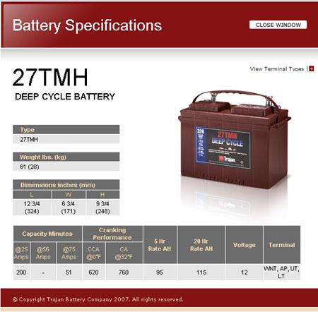 Bateria monoblock Trojan 27TMH 128A 12v