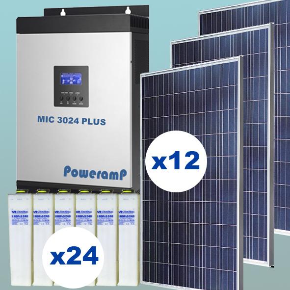 Kit solar de 3 kW inyección 0 con baterías