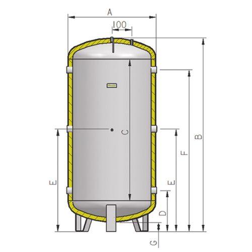 Depósito inercia de acero al carbono 200L
