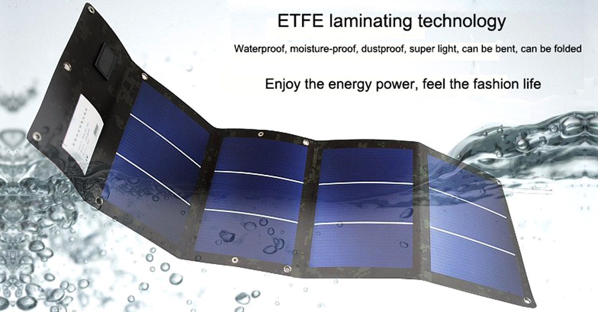 Cargador solar flexible y plegable.