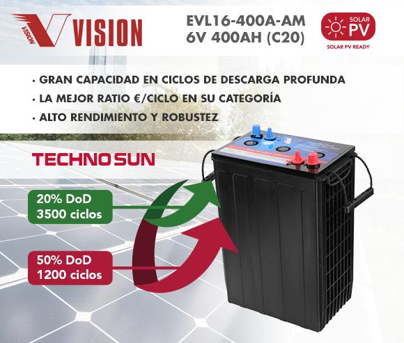 Batería solar de 6V y 400A sin mantenimiento.