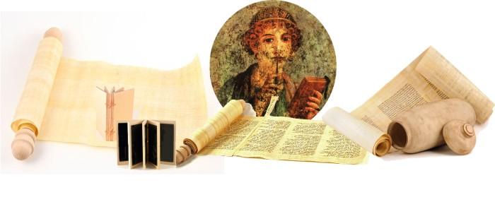 Pergamentrollen, alte Bände, Wachstafeln