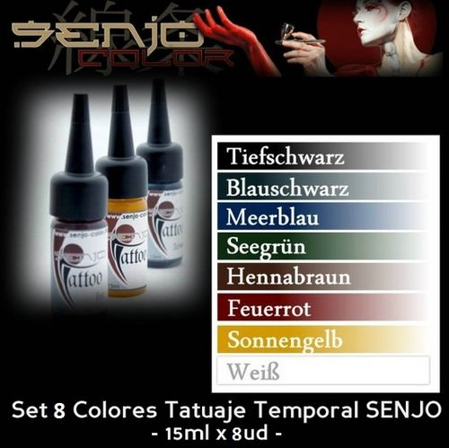 Kit 8 Colores Tatuaje Temporal SENJO (-10%)