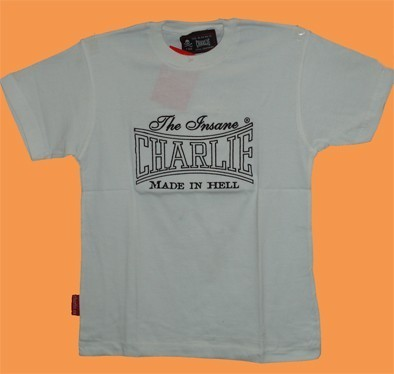 CAMISETA CHARLIE BORDADA MADE IN HELL BLANCA CHICO