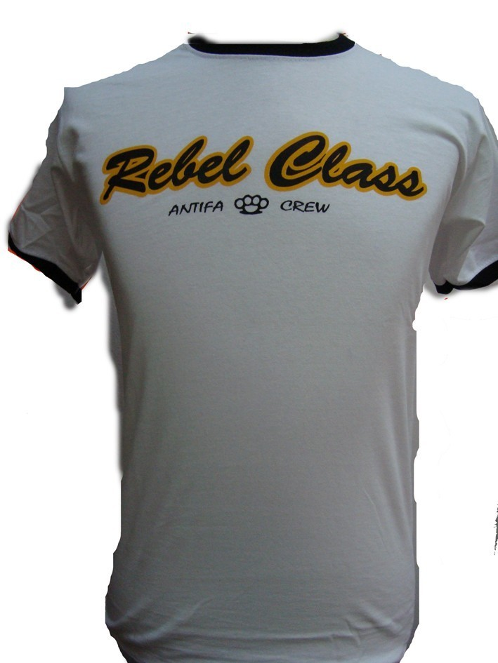 CAMISETA REBEL CLASS BLANCA BORDES NEGROS CHICO