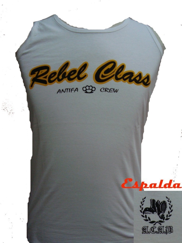 CAMISETA REBEL CLASS ANTIFA CREW BLANCA SIN MANGAS CHICO