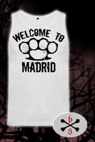 CAMISETA BLOODSHEDS TIRANTES WELCOME TO MADRID BLANCA CHICO