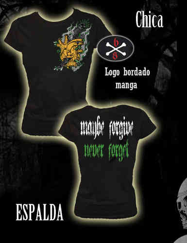 CAMISETA BLOODSHEDS CORAZON MAYBE FORGIVE, NEVER FORGET CHICA