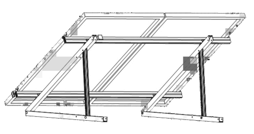 HORIZONTAL SOLAR MOUNT 2 PANELS FOR FLAT ROOF
