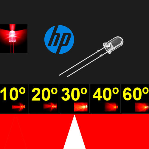 Led 5mm. Super Rojo. Chip H.P. Super brillo. 24-30º