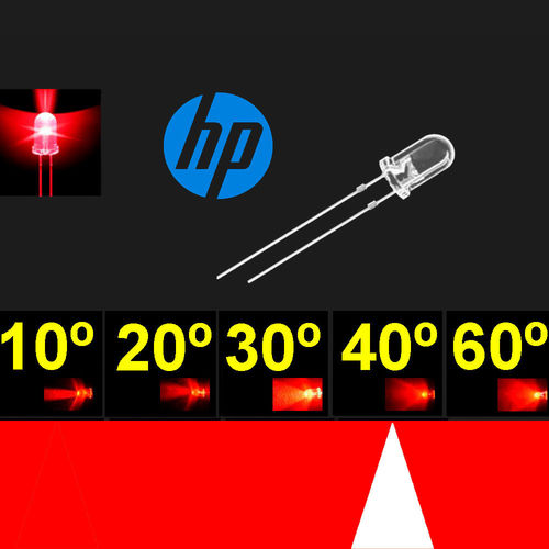 Led 5mm. Super Rojo. Chip H.P. Super brillo. 32º-40º