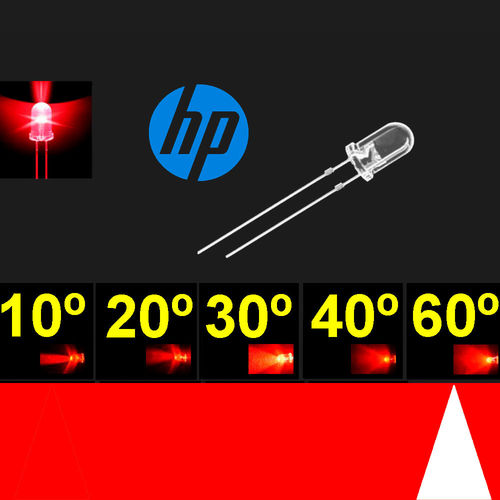 Led  5mm. Super Rojo. Chip H.P. Super brillo. 55º-65º