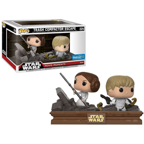 FIGURA POP STAR WARS MOVIE MOMENTS: LUKE AND LEIA TRASH COMPACTOR SCAPE