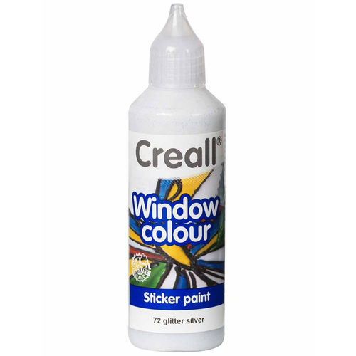CREALL Pintura de Cristal WINDOW COLOUR GLITTER PLATA 80ml.