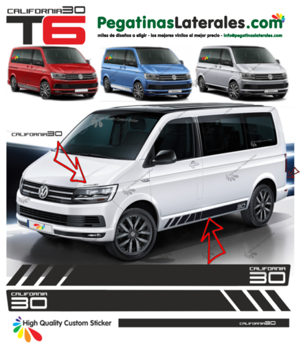 VW BUS T4 T5 T6 California 30 Edition set completo de pegatinas laterales N°: 9684