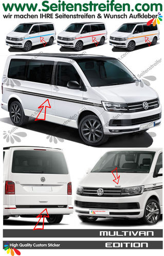 VW T4 T5 T6 MULTIVAN EDITION EVO Custom set completo de pegatinas laterales  N°: 6499
