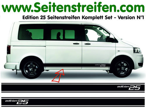 VW T4 T5 T6 Edition 25 Version N°1 set completo de pegatinas laterales  N°: 5130