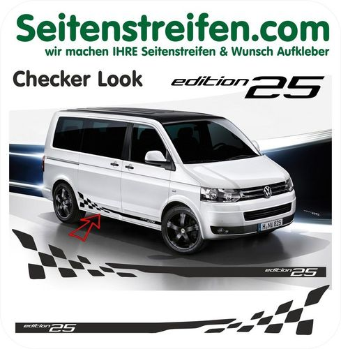 VW T4 T5 T6 Checker Edition 25 set completo de pegatinas laterales  N°: 5222