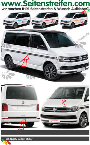 VW T4 T5 T6 -Sin Texto EVO Custom set completo de pegatinas laterales  N°: 6099