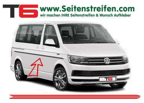 VW Bus T4 T5 T6  - Doble Custom- set completo de pegatinas laterales  N°: 7194