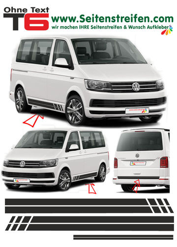 VW T4 T5 T6 - Edition sin Texto - set completo de pegatinas laterales  N°: 5378