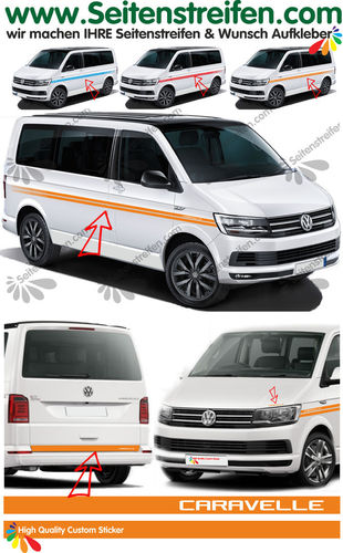 VW T4 T5 T6 CARAVELLE EVO Custom - set completo de pegatinas laterales  N°: 4499