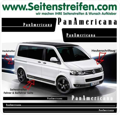 VW T4 T5 T6 PanAmericana para Syncro Multivan  - set completo de pegatinas laterales  N°: 5204