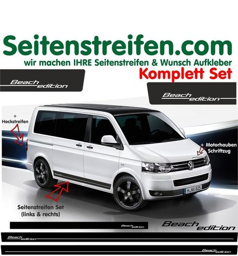 VW T4 T5 T6 Beach Edition - set completo de pegatinas laterales - N°: 5109