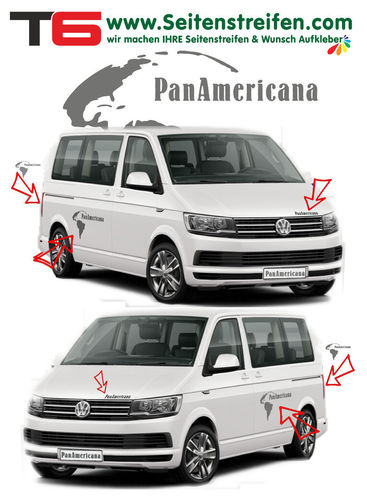 VW BUS T4 T5 T6 PanAmericana Continente - set completo de pegatinas laterales-N°:7783