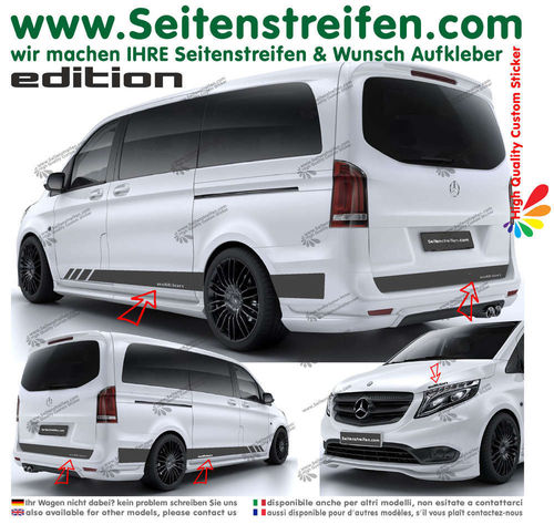 Mercedes Benz Clase V - Edition Look mit text set completo de pegatinas laterales  N°: 6788