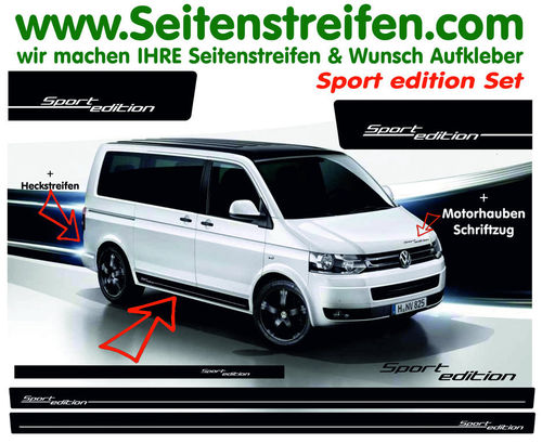 VW T4 T5 T6 - Sport Edition - set completo de pegatinas laterales - N°: 51031