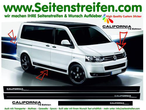 VW T4 T5 T6 CALIFORNIA T5 Edition - set completo de pegatinas laterales N°: 5432