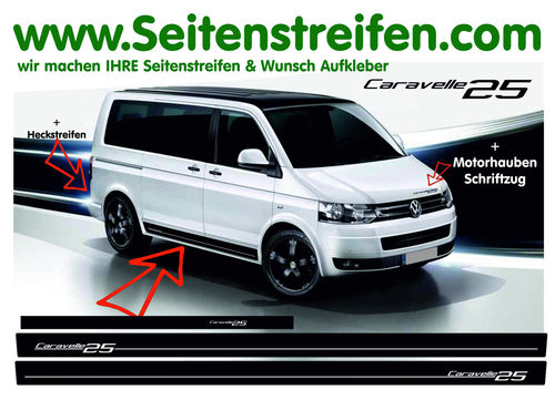 VW T4 T5 T6 CARAVELLE Edition 25 Look - set completo de pegatinas laterales  N°: 7000