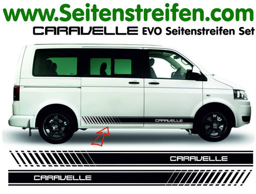 VW T4 T5 T6 CARAVELLE EVO - set completo de pegatinas laterales  N°: 5118